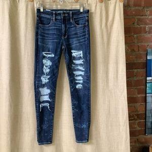 American Eagle hi-rise jegging destructed jeans 4S